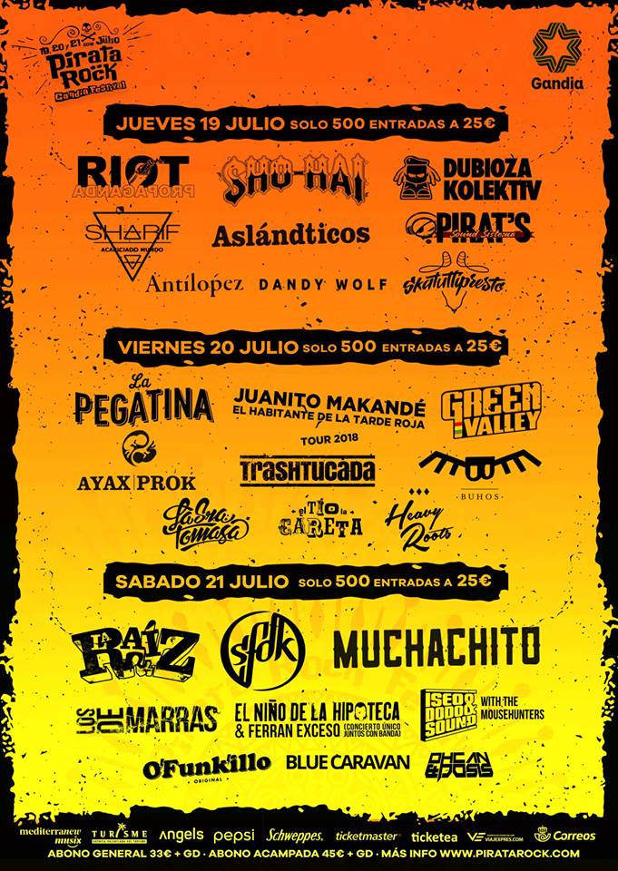 ¡SORTEO DE 2 ABONOS PARA EL FESTIVAL PIRATA ROCK 2018!