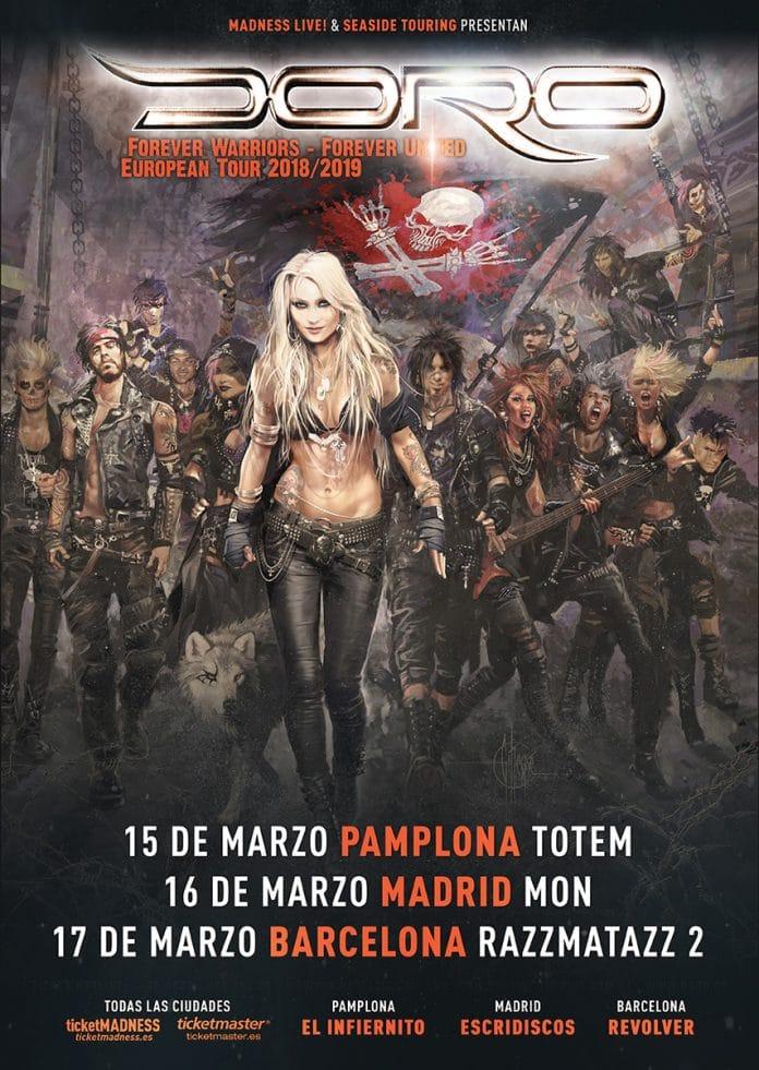 Doro visitará Madrid, Barcelona y Pamplona en marzo de 2019