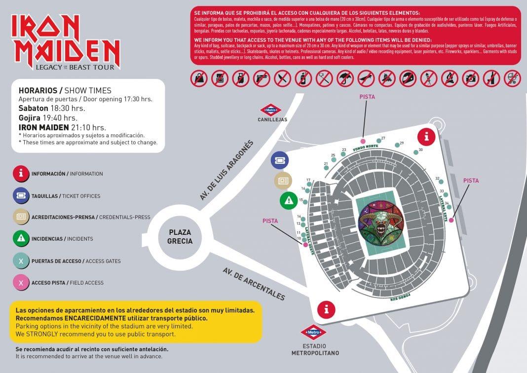Iron Maiden en Madrid: horarios, plano del recinto y últimas entradas a la venta