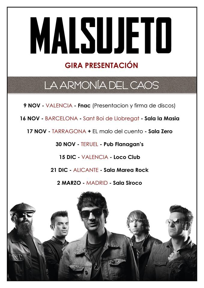Malsujeto desvelan las primeras fechas de su gira La Armonía Del Caos