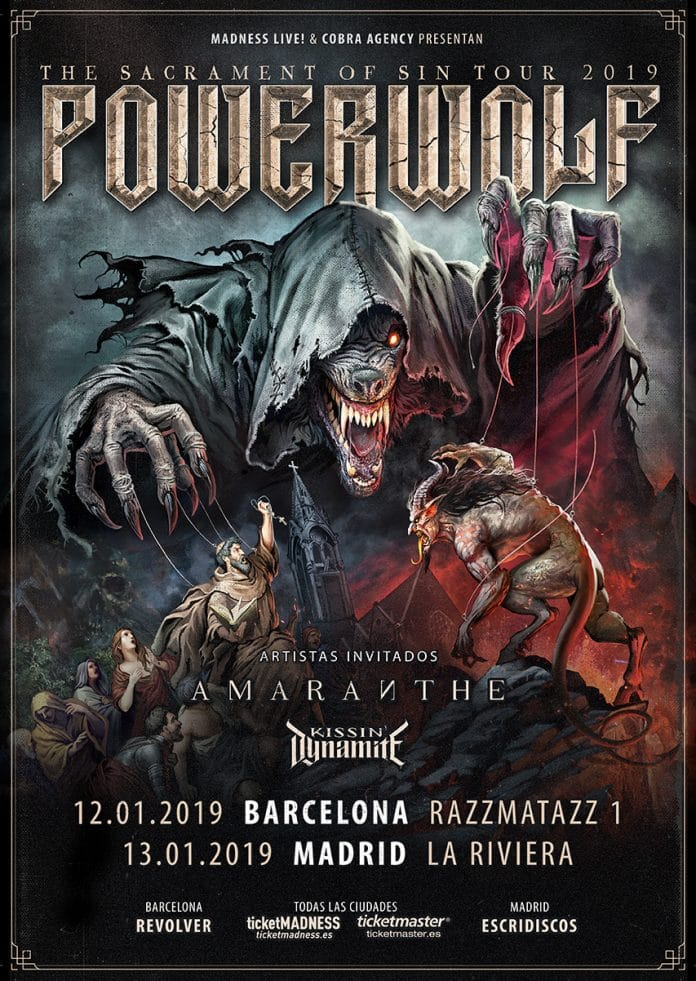 Powerwolf, Amaranthe y Kissin en Madrid y Barcelona en 2019