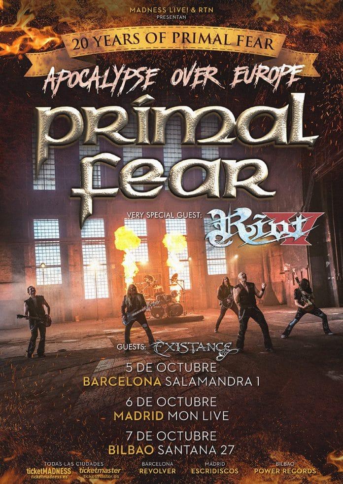 Primal Fear en Barcelona, Madrid y Bilbao en octubre de 2018