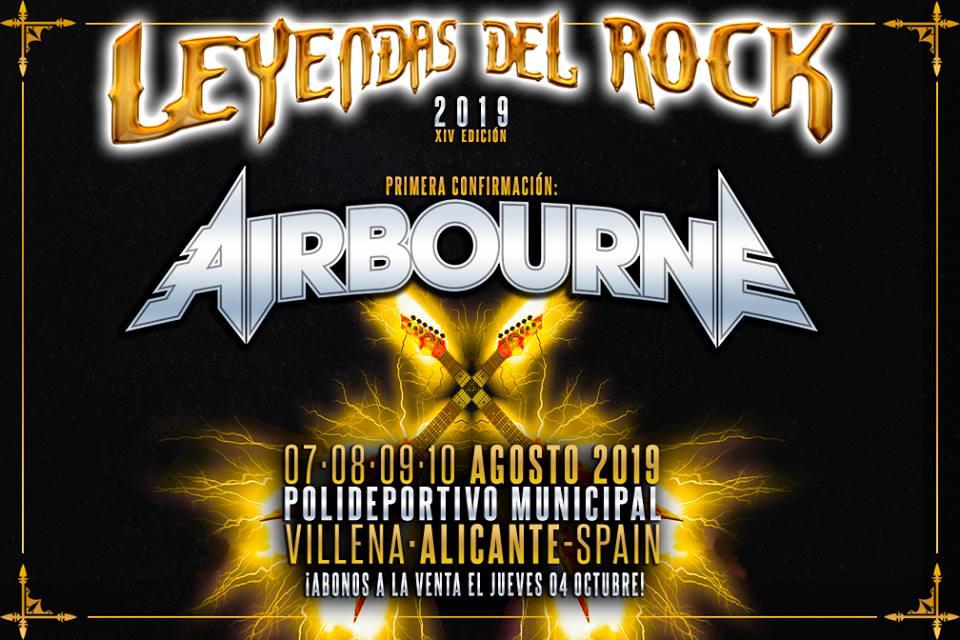 Airbourne es el primer cabeza de cartel para el Leyendas del Rock 2019