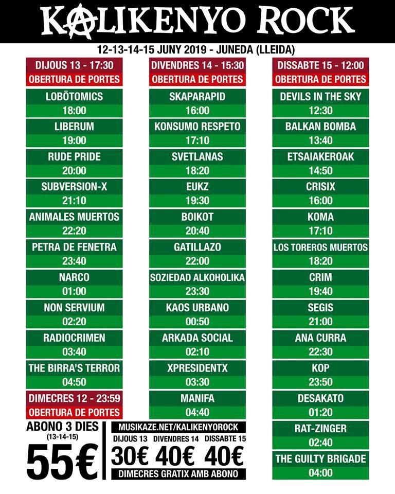 KALIKENYO ROCK 2019: Cartel, grupos, entradas, horarios y más
