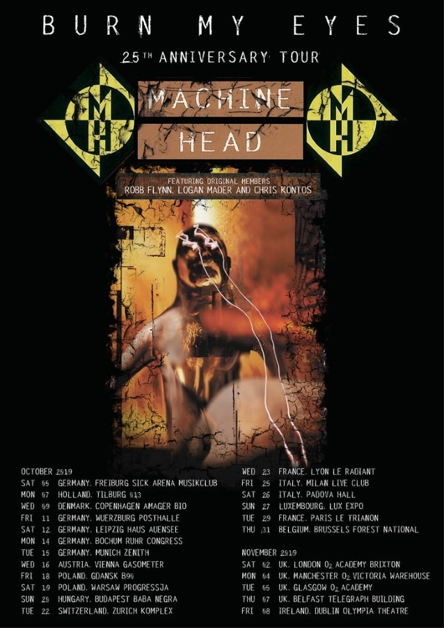 "MACHINE HEAD anuncia gira europea por los 25 años de ""Burn My Eyes"" con miembros originales"