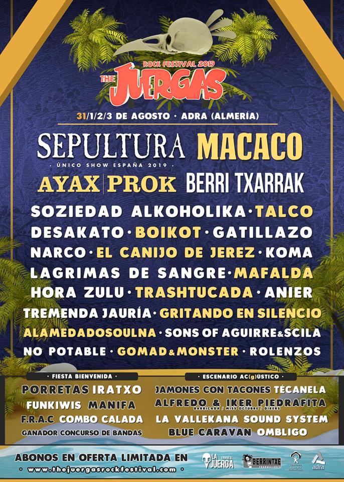 SEPULTURA encabezará el JUERGAS ROCK FESTIVAL 2019 de Adra (Almería)