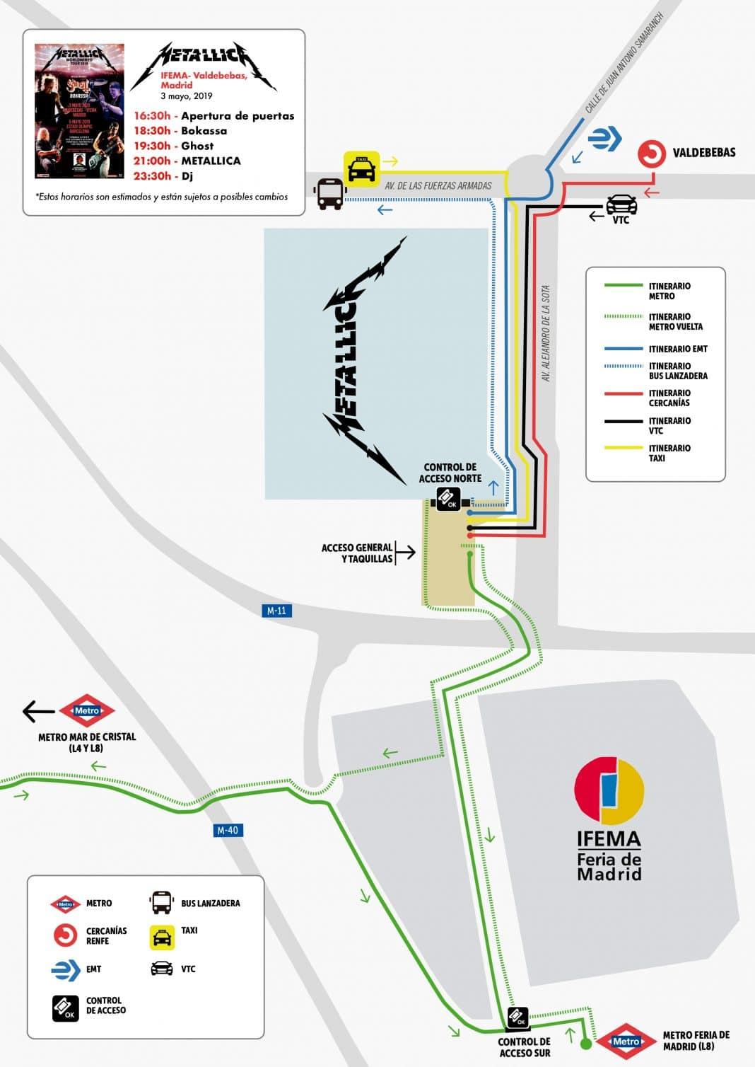 METALLICA en Madrid: horarios, cómo llegar, objetos no permitidos y recomendaciones