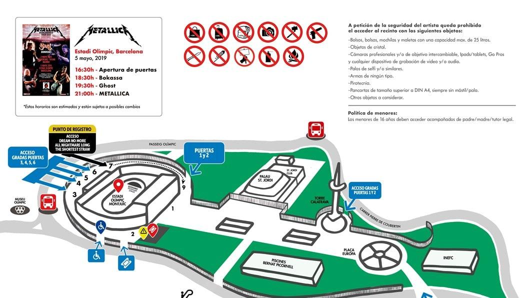 METALLICA en Barcelona: horarios, plano del recinto, objetos no permitidos y recomendaciones