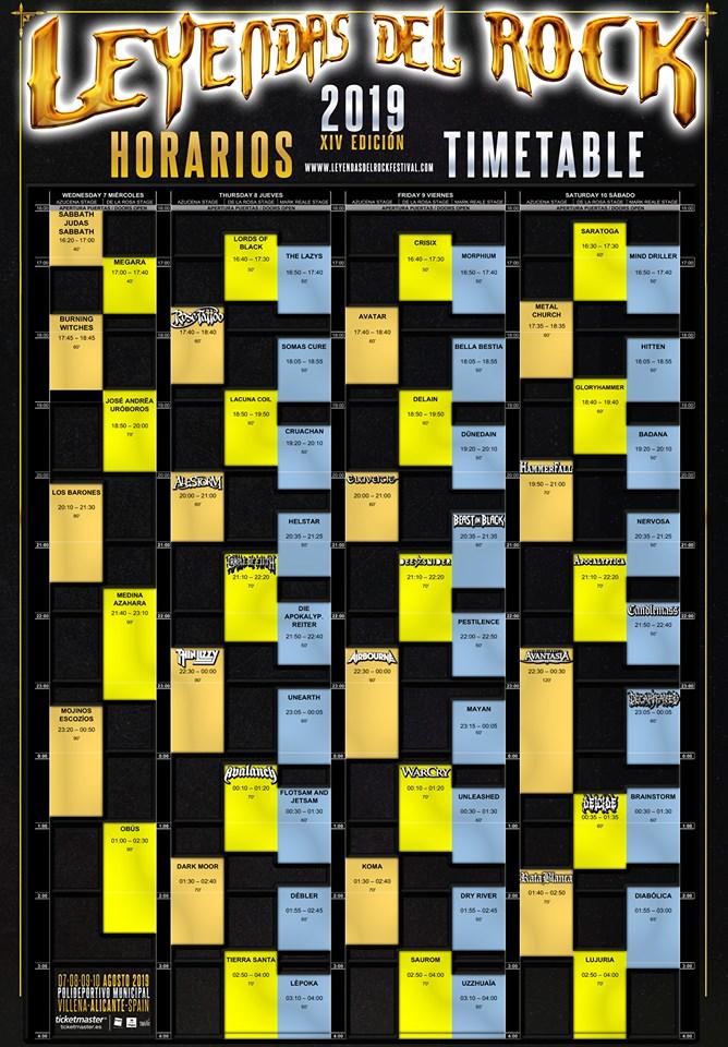 LEYENDAS DEL ROCK 2019: Horarios de conciertos, entradas y más información