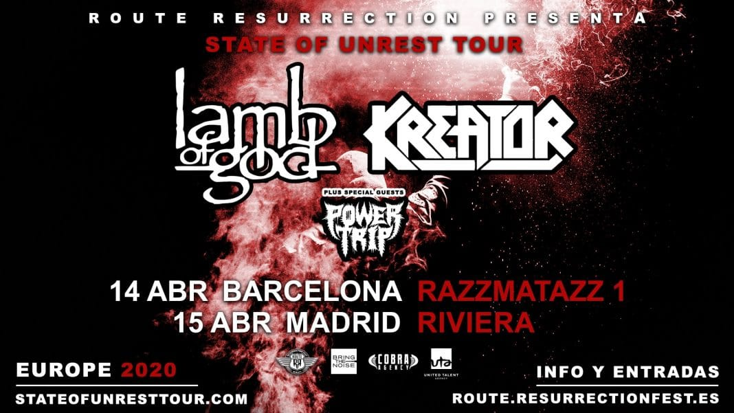 LAMB OF GOD y KREATOR actuarán en Madrid y Barcelona en abril de 2020: Fechas y entradas