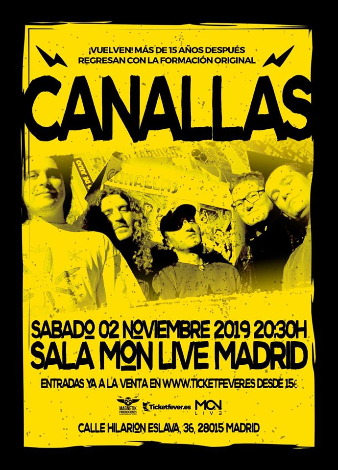 CANALLAS regresa a Madrid después de 15 años: entradas y más información