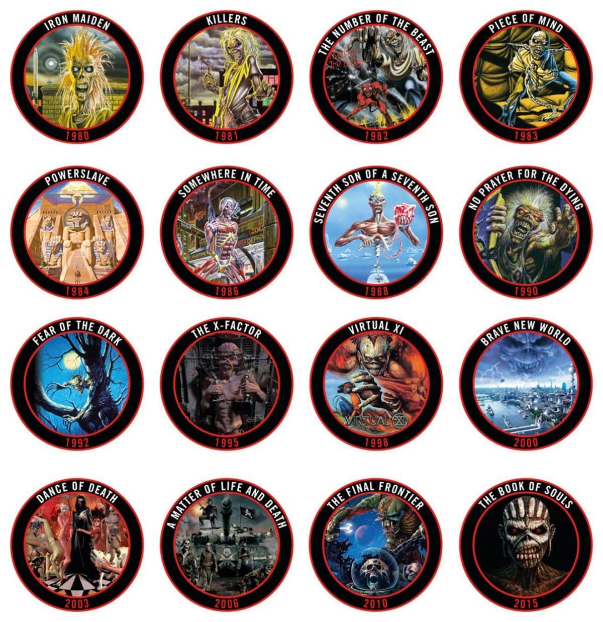 IRON MAIDEN lanza una colección limitada de 16 chapas de todos sus discos